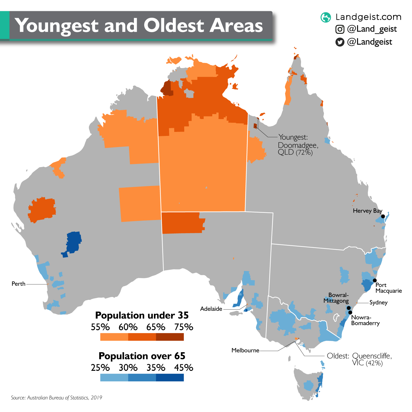 Map of Australia showing the areas with the youngest and oldest population.