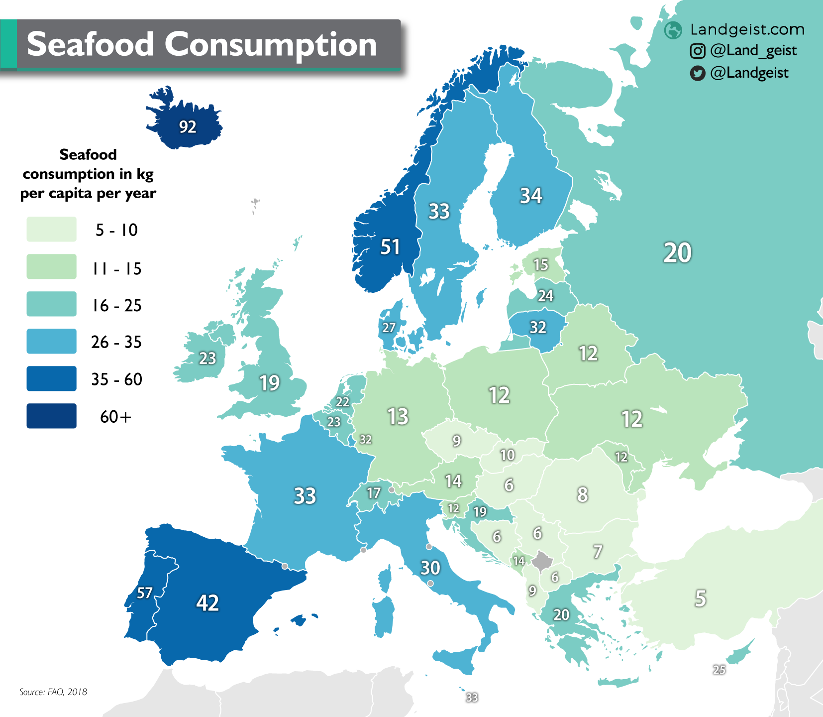 Map of the annual Seafood Consumption in Europe.