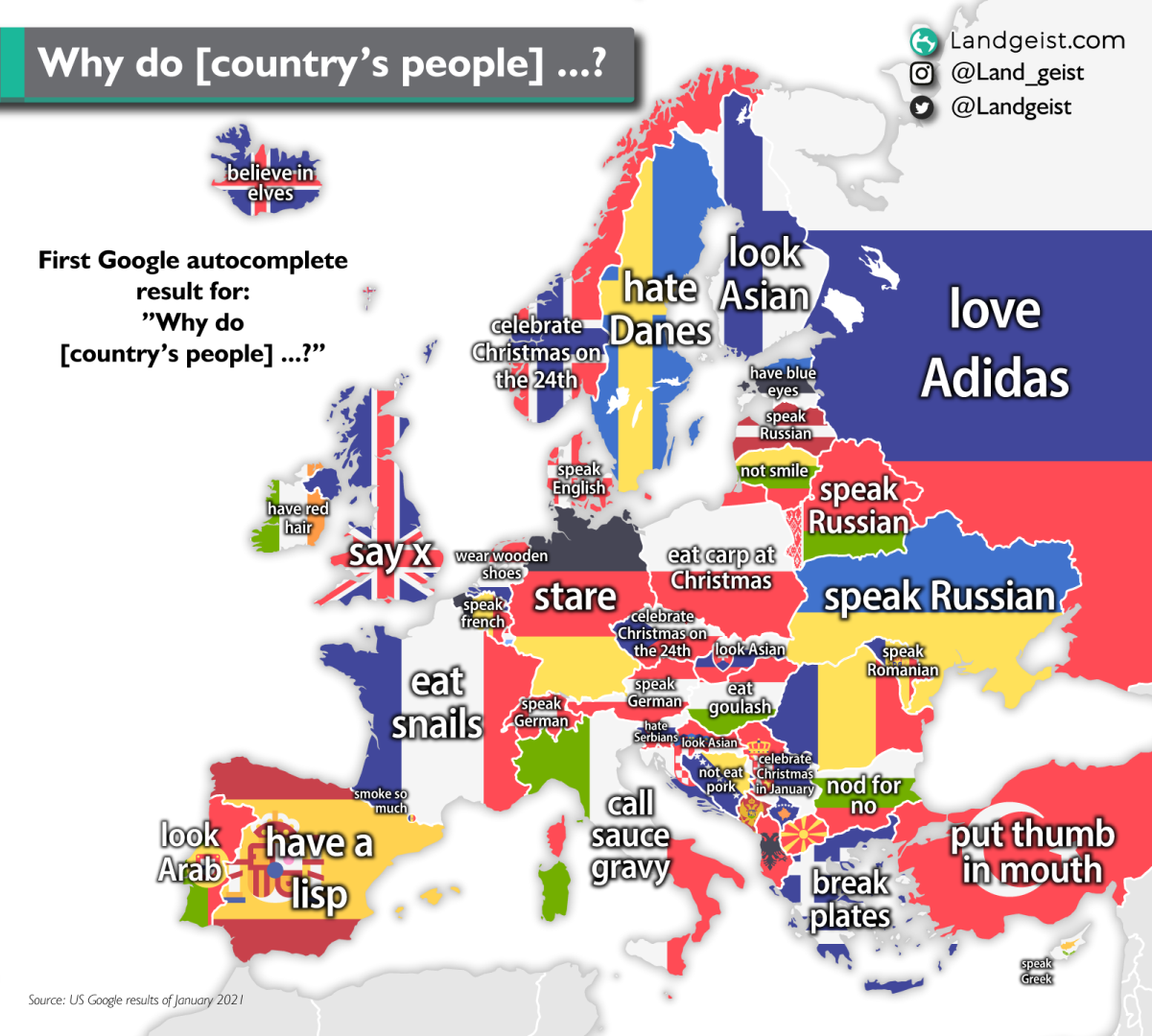 Map of google autocomplete results for why do country's people?