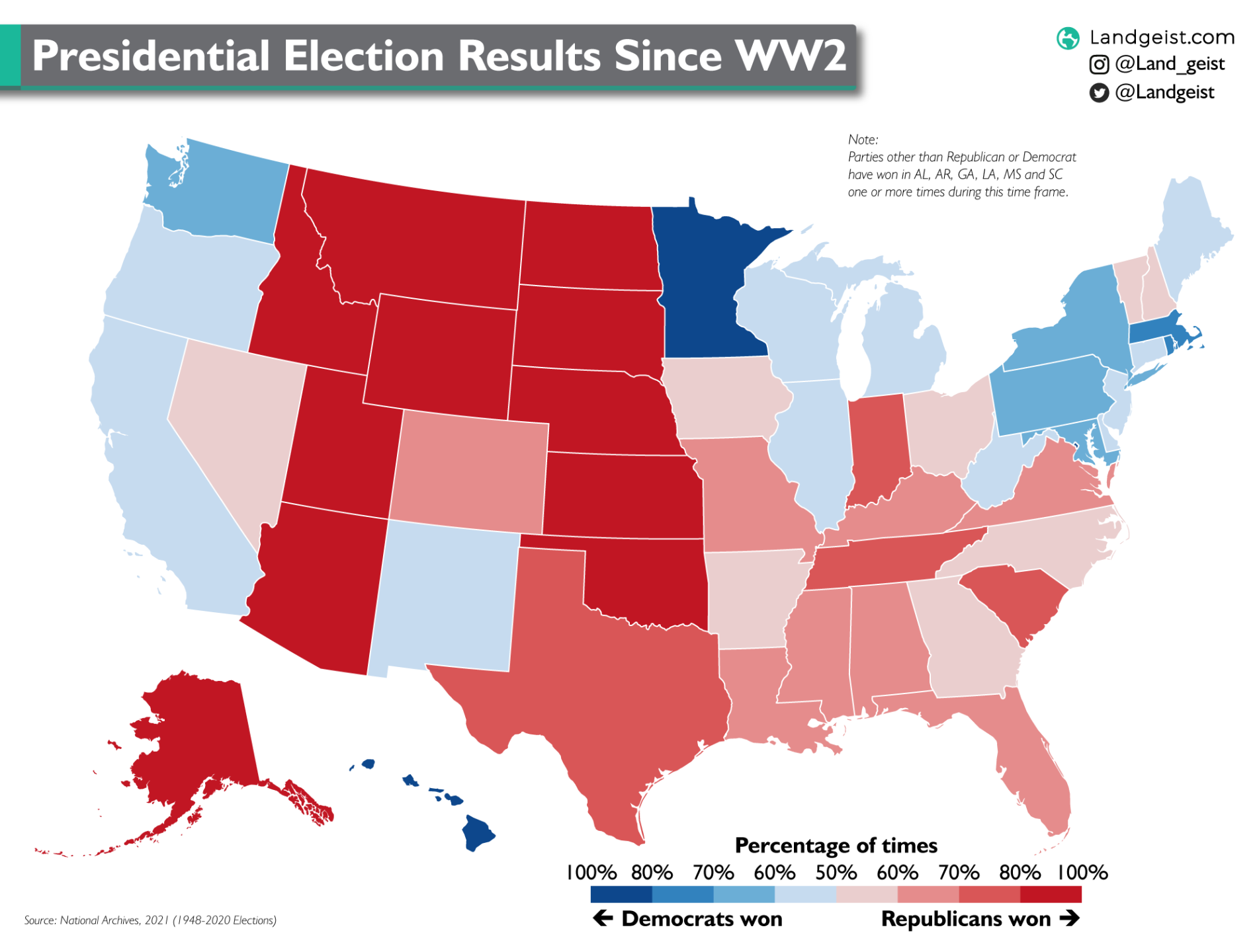 Map of the US presidential election results since World War 2