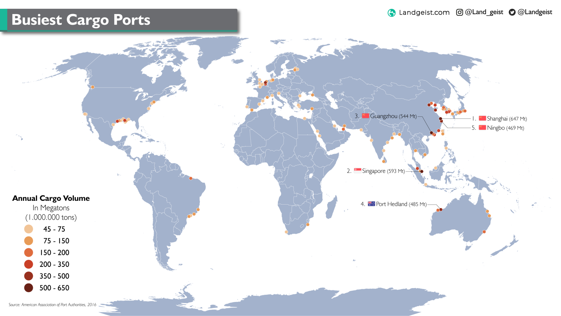 Map of the busiest cargo ports in the world