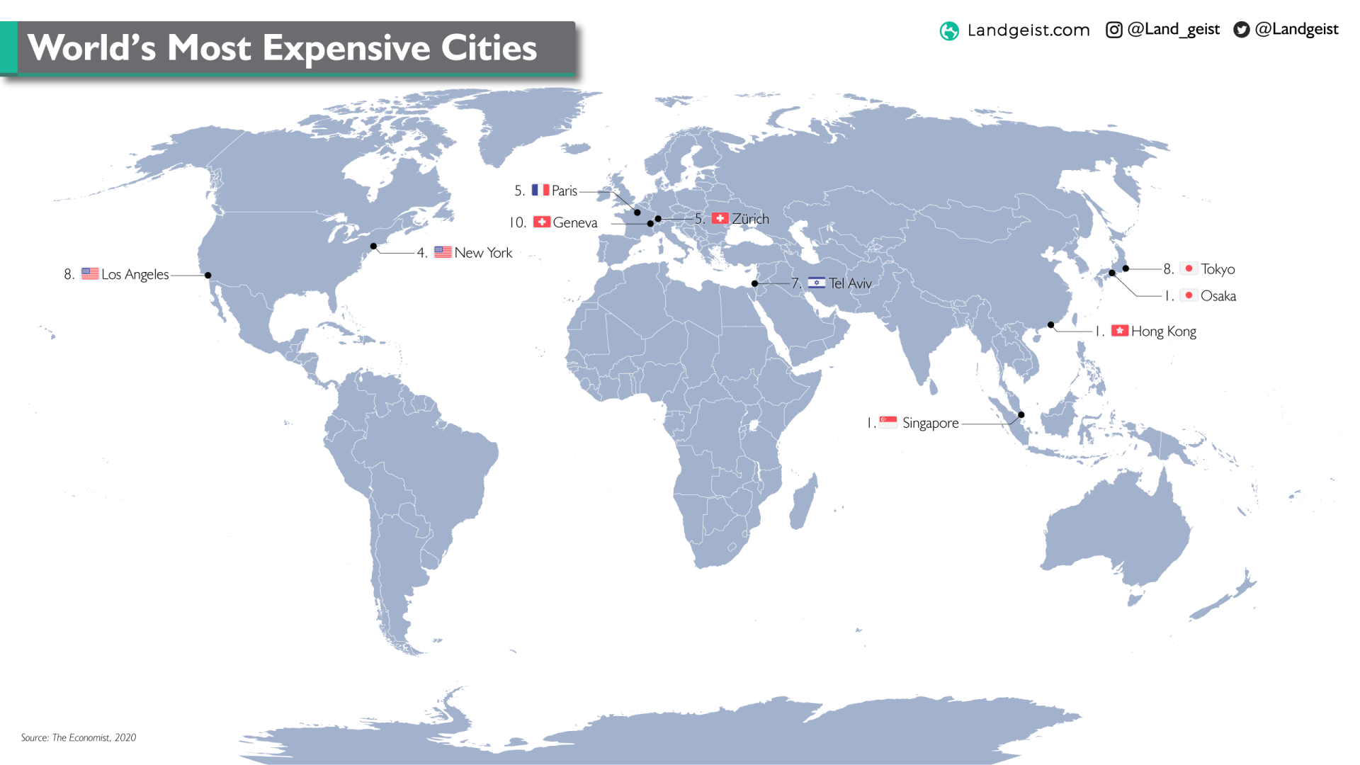 Map of the most expensive cities in the world.