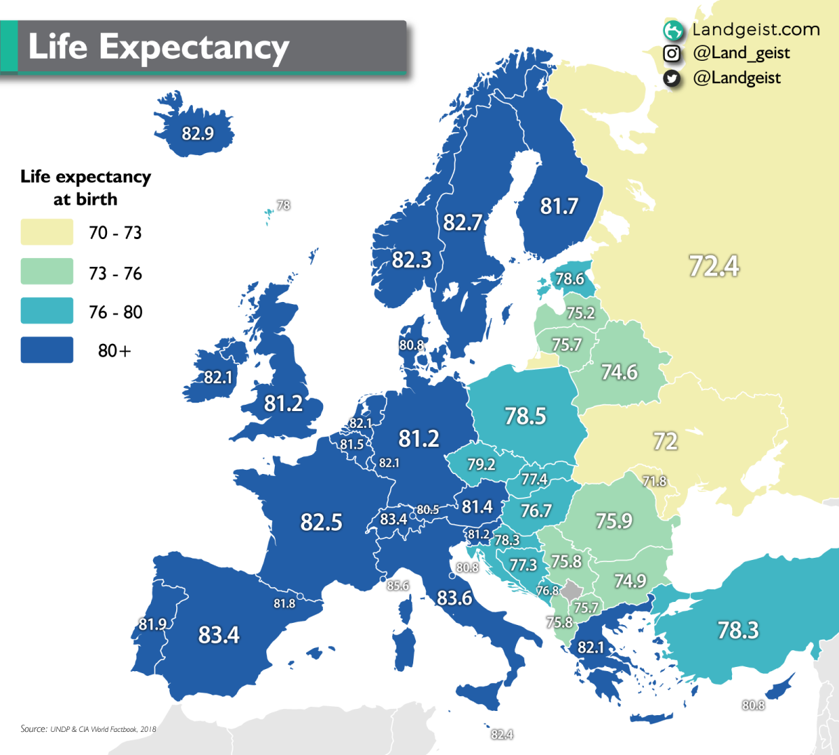Map of the life expectancy at birth per country in Europe.