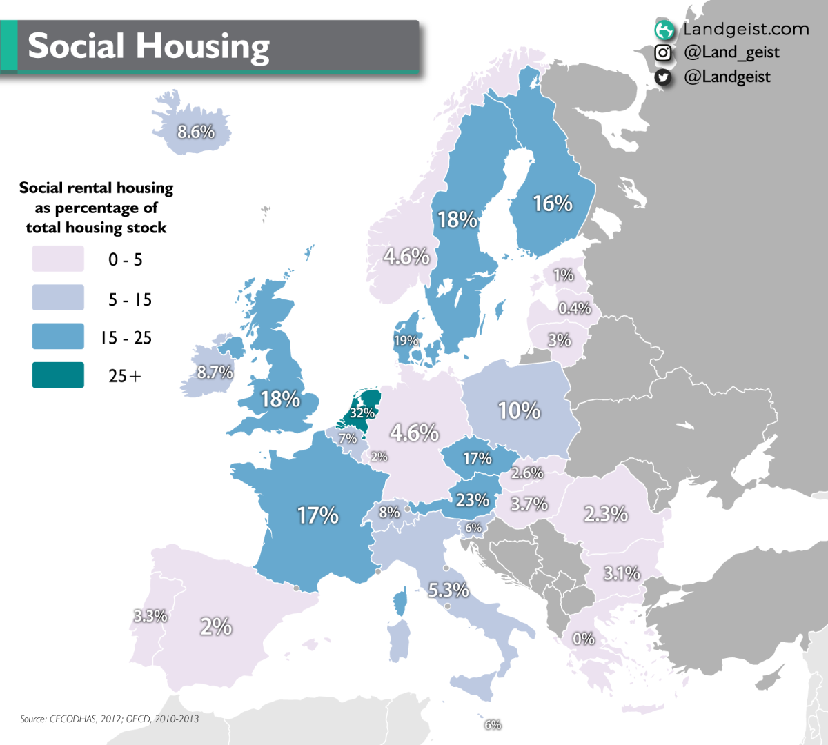 Map of Europe showing social rental dwellings as a percentage of the total housing stock.