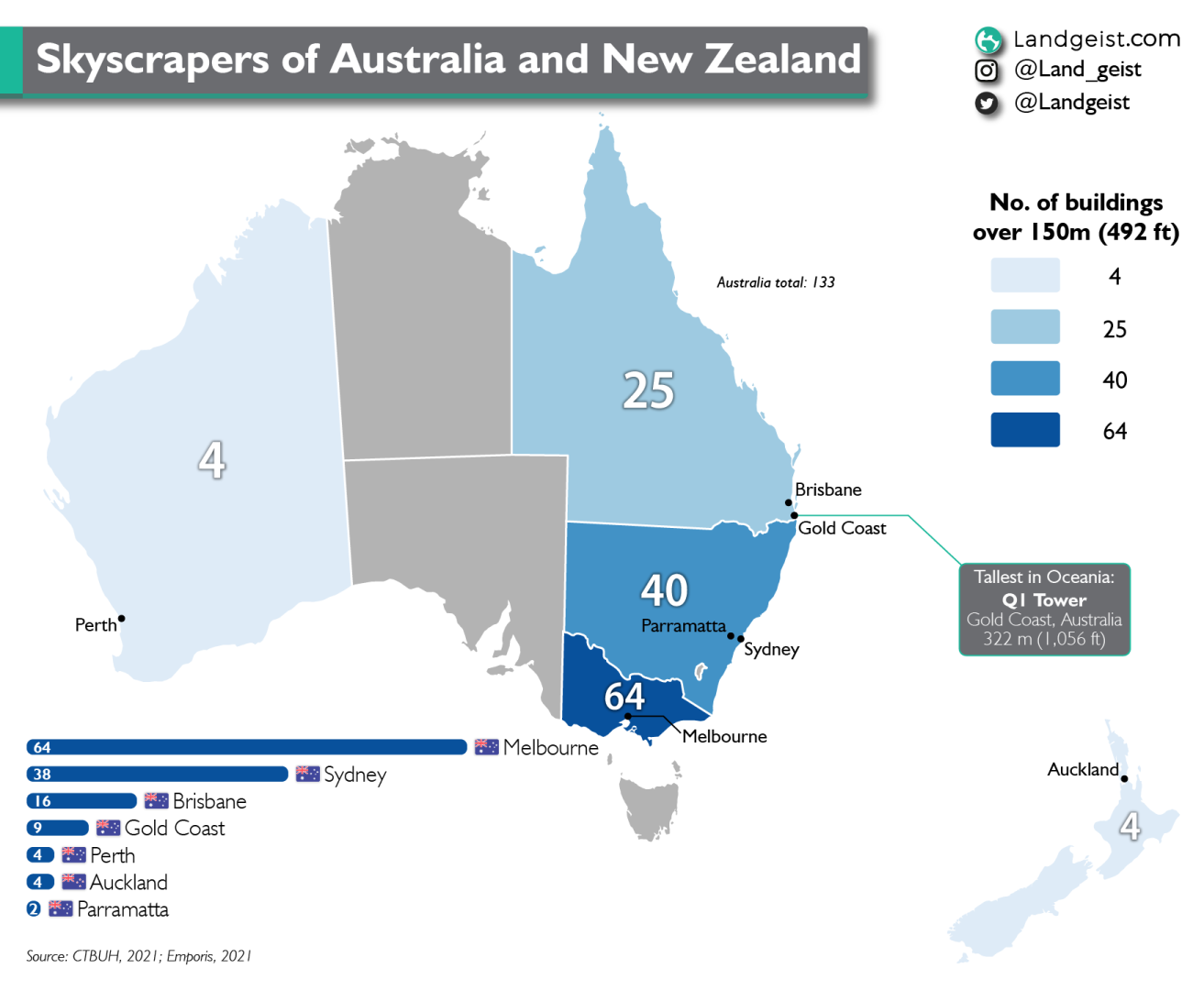 Map of the skyscrapers in Australia and New Zealand.