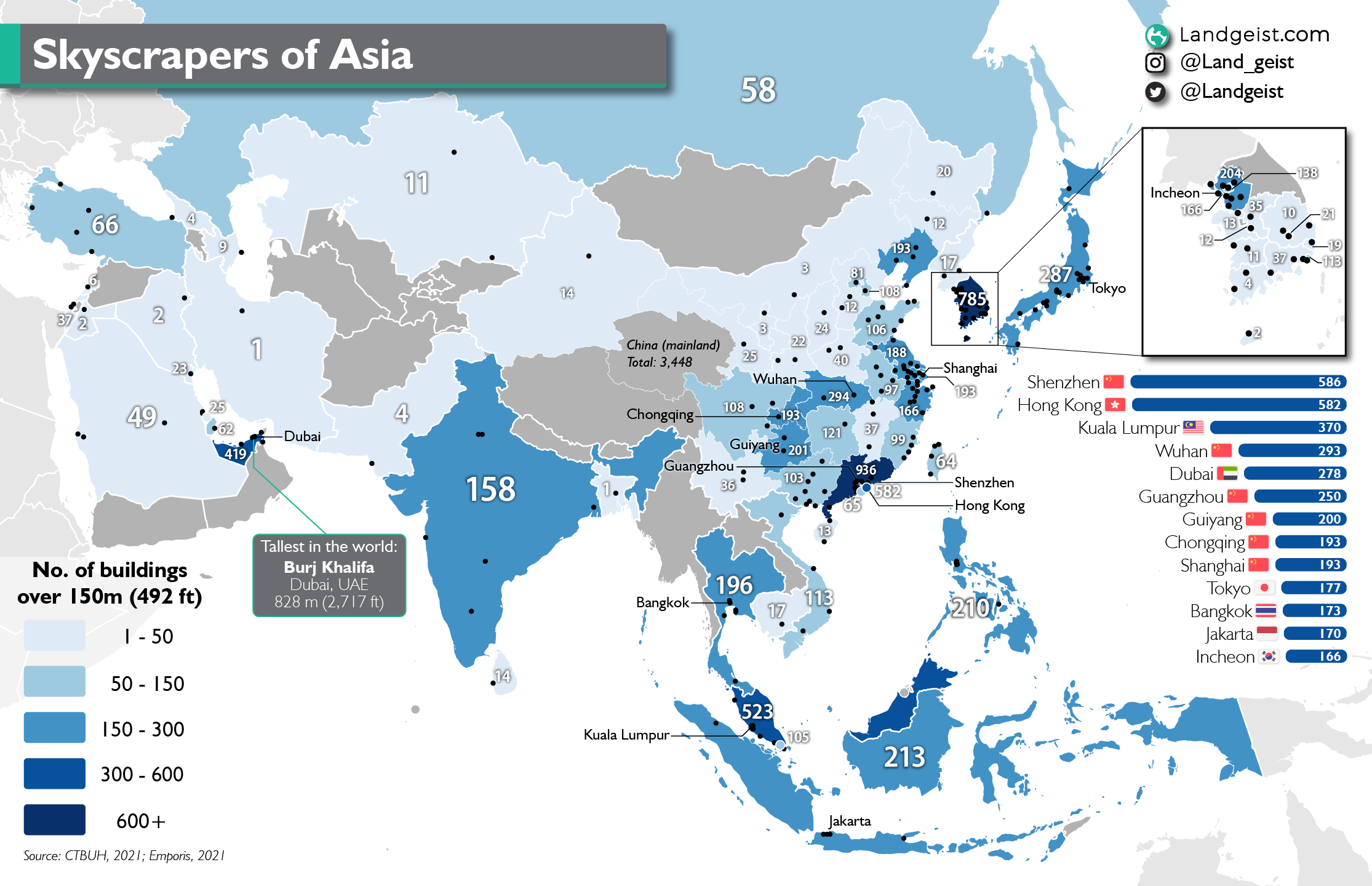 Map of the skyscraper of Asia