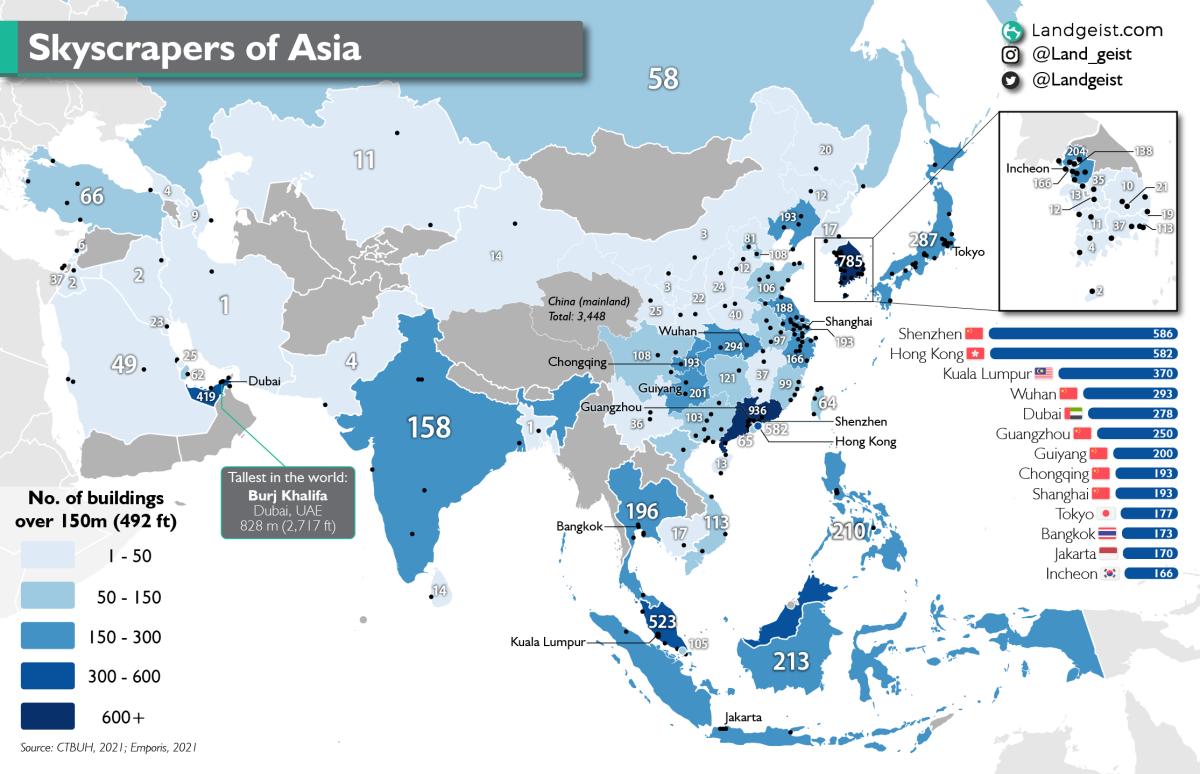 Map of the skyscraper of Asia