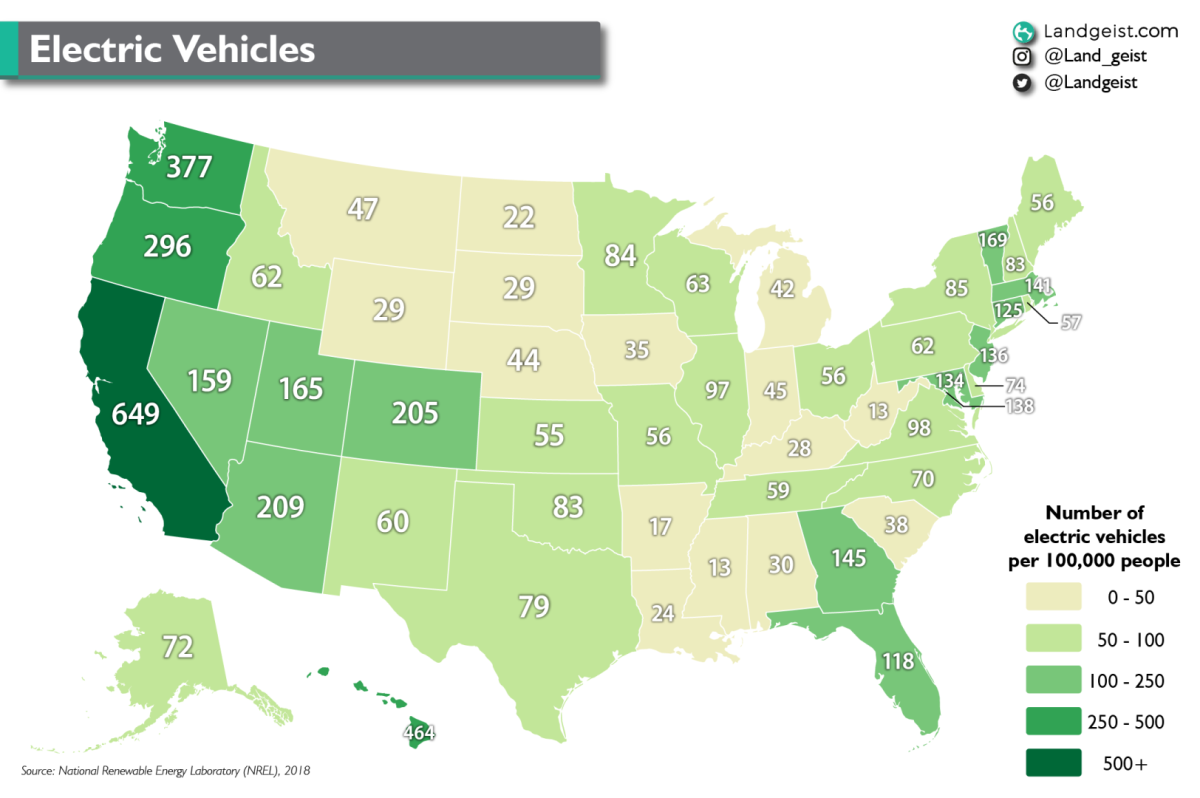 Map of the number of electric cars per 100.000 people in the United States
