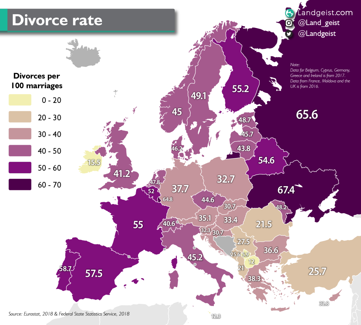 Divorce rate in Europe. Divorces per 100 marriages.