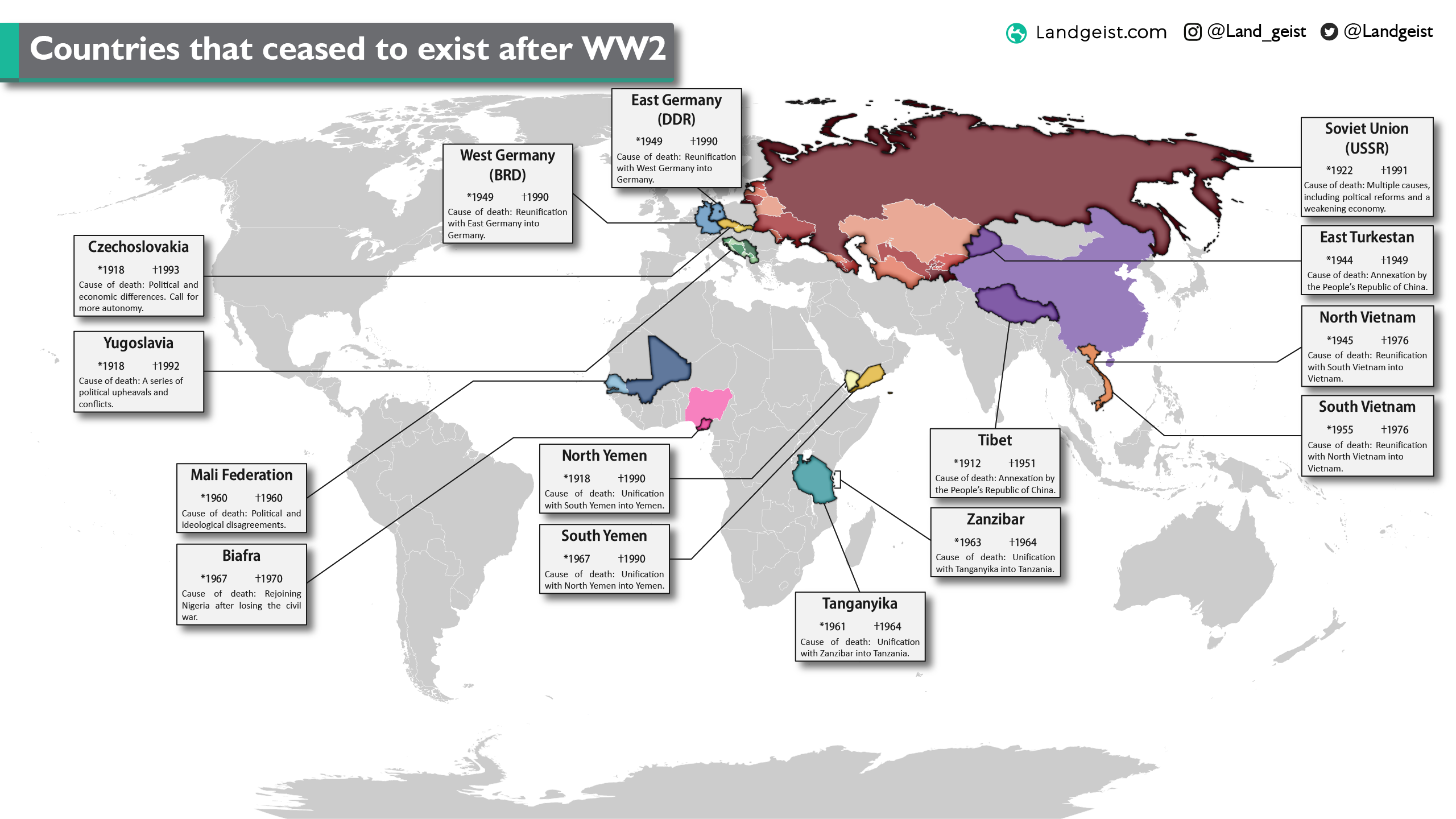 Map showing the countries that ceased to exist since WW2.