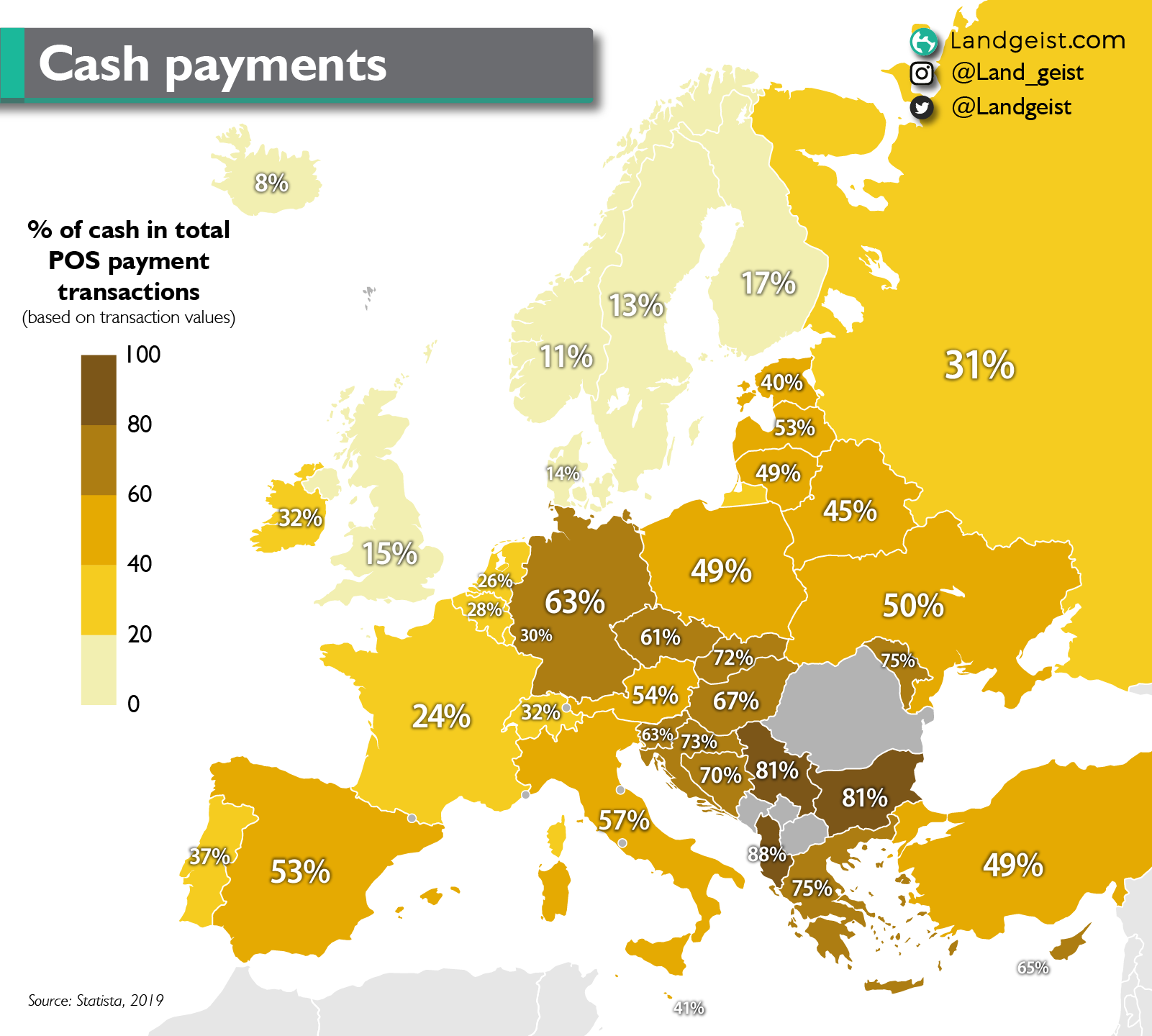 Map showing the percentage of cash transactions per country in Europe.