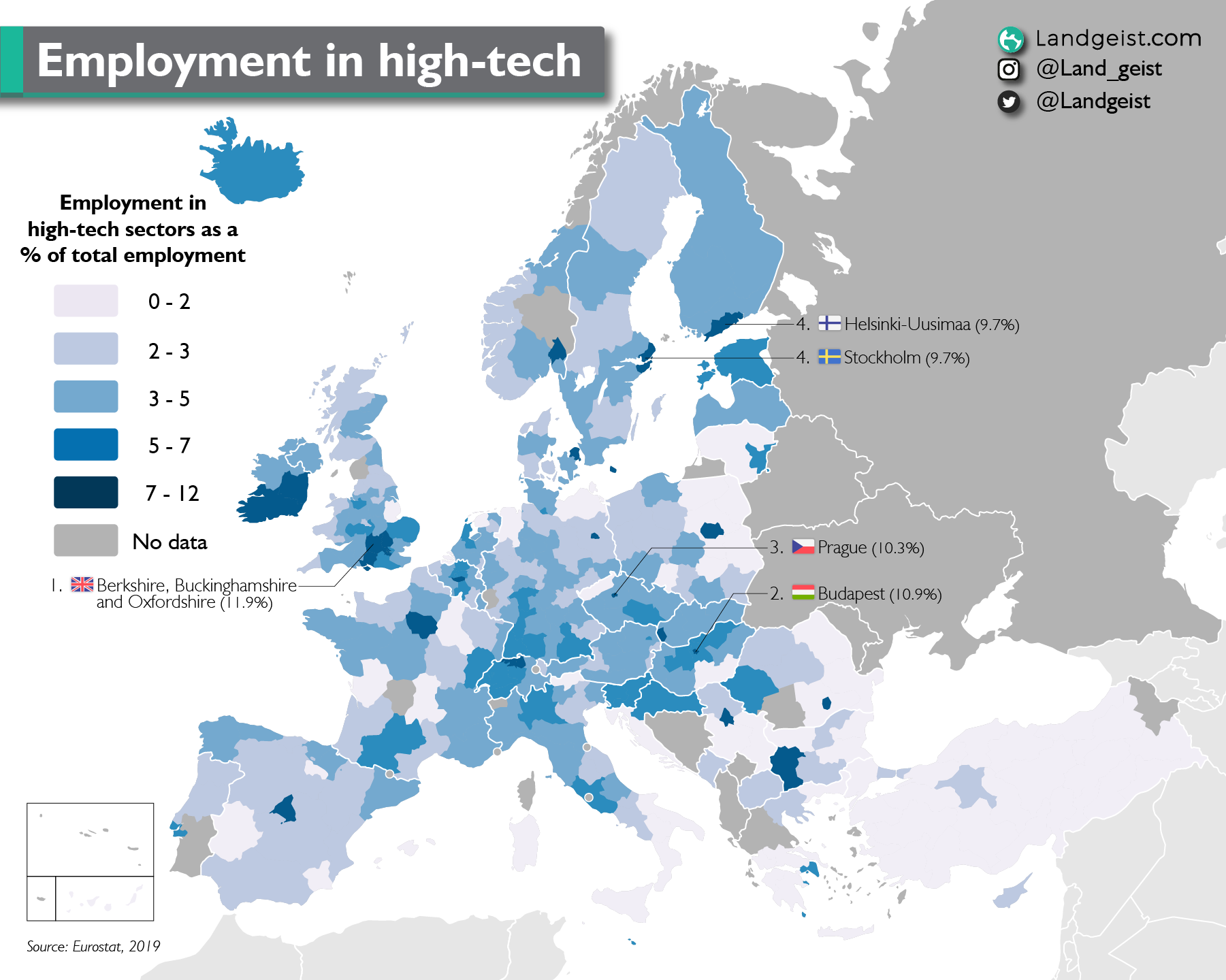 Which areas in Europe are the biggest hubs for high-tech, when it comes to employment?