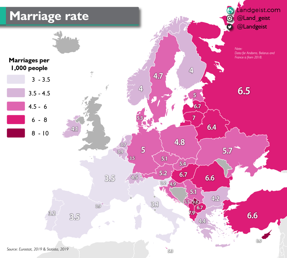 Map of the marriage rate in Europe.