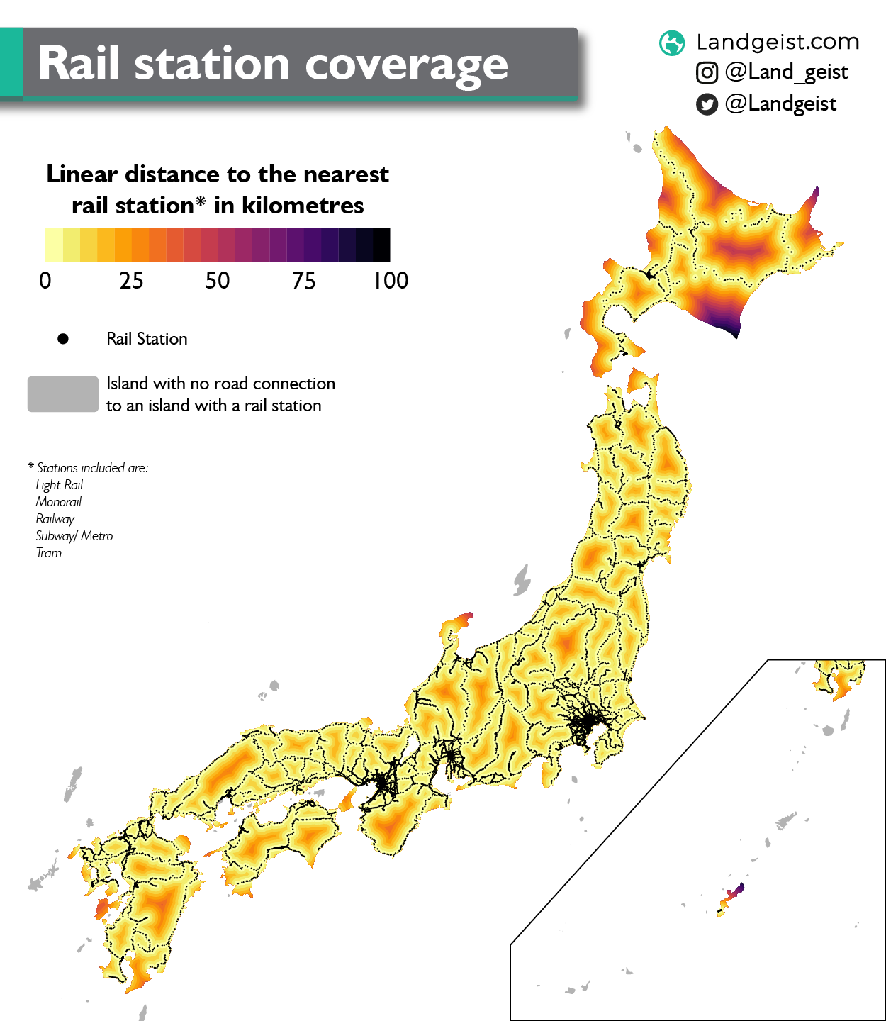 Map of Japan showing the distance to the nearest rail station.
