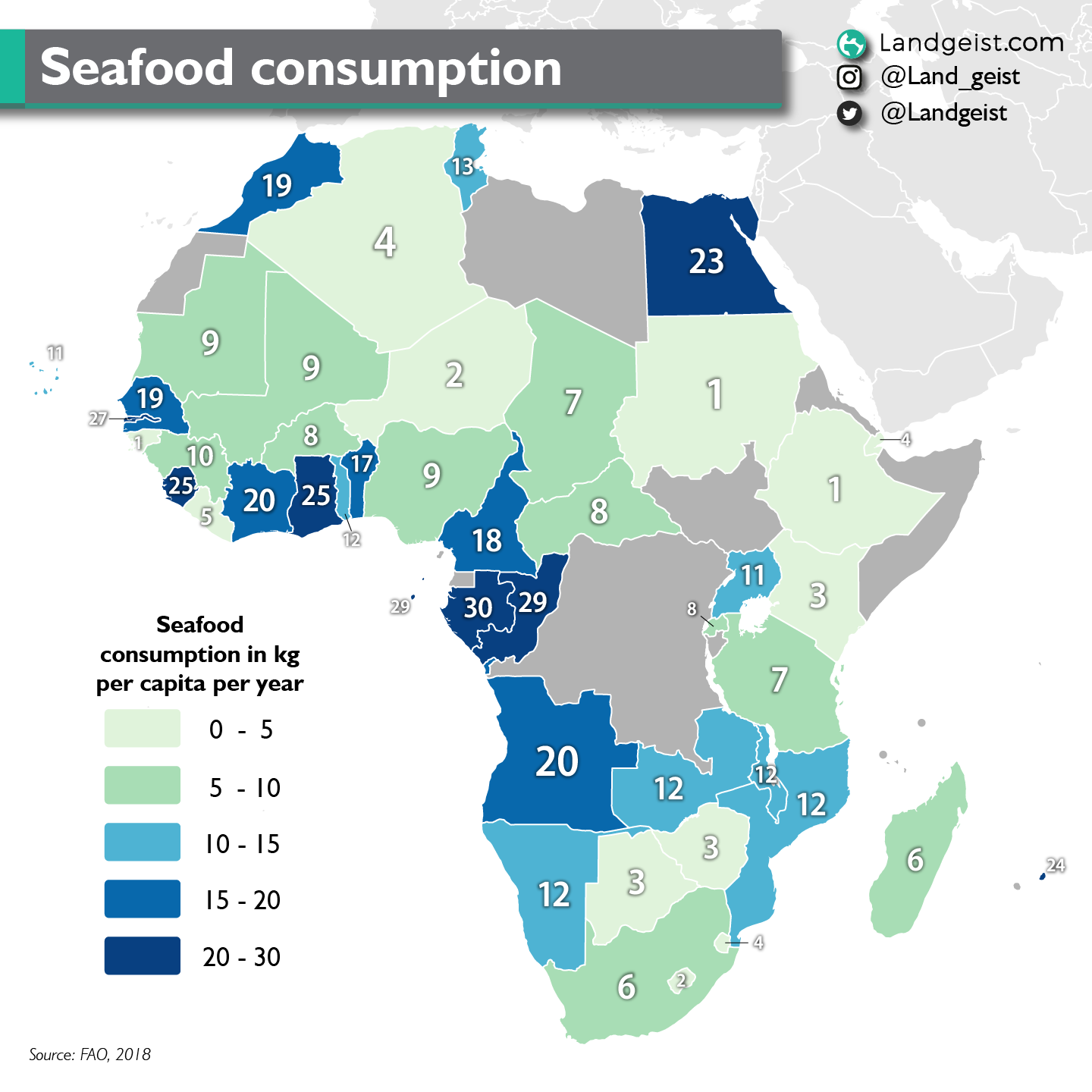 Map showing the seafood consumption in Africa.