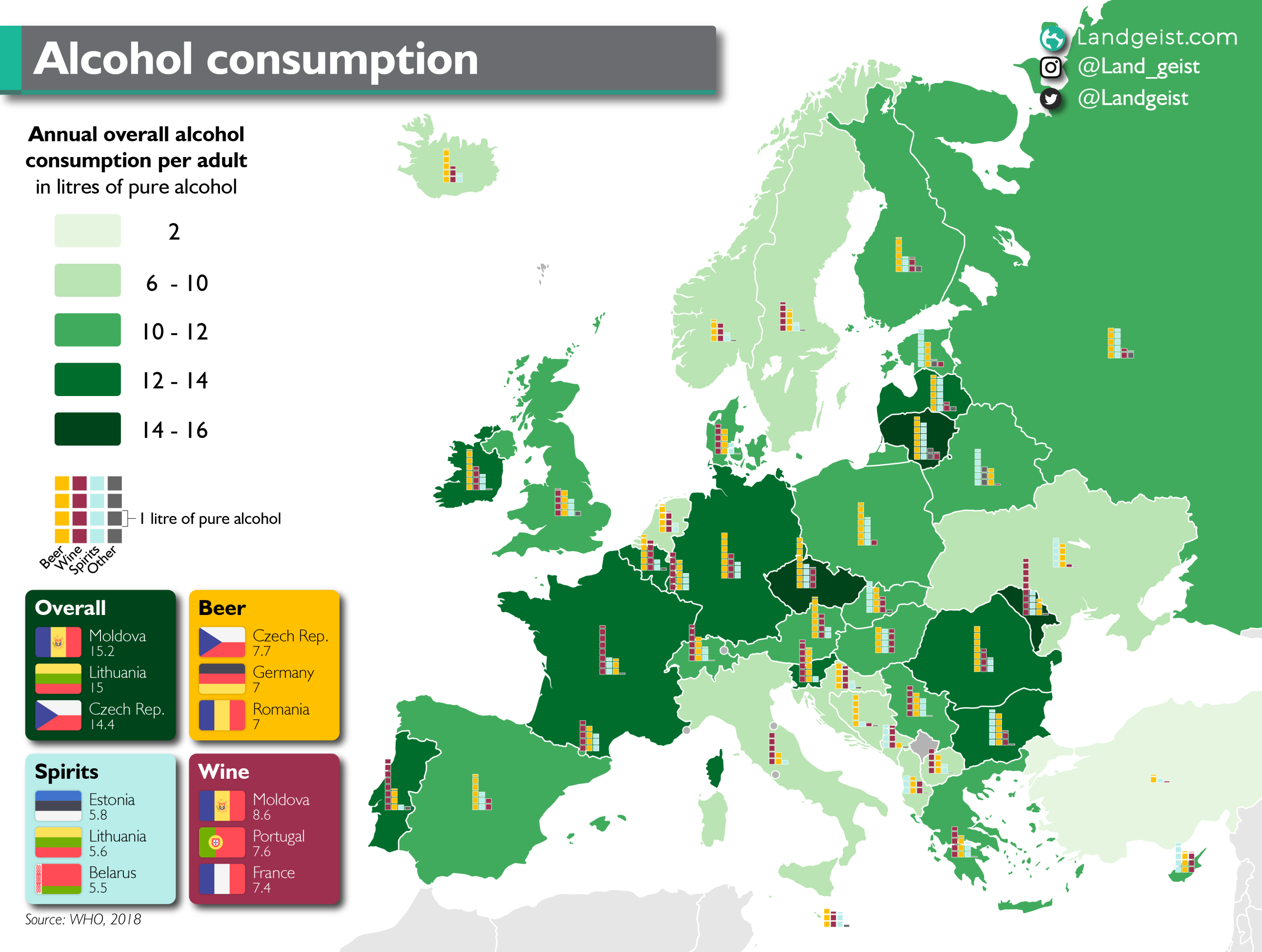Detailed map of the alcohol consumption in Europe.