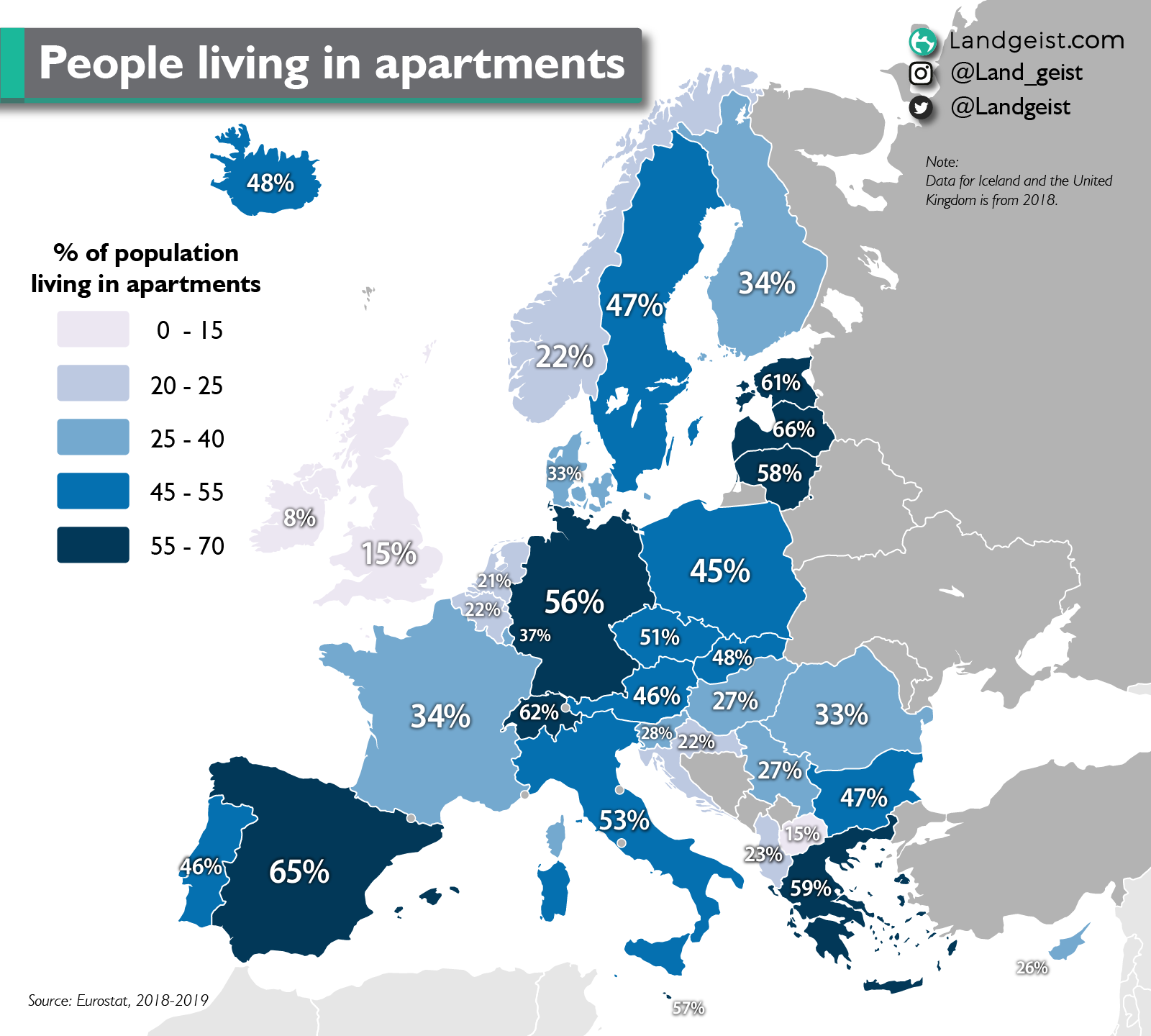 Map of Europe showing the percentage of its population living in apartments.