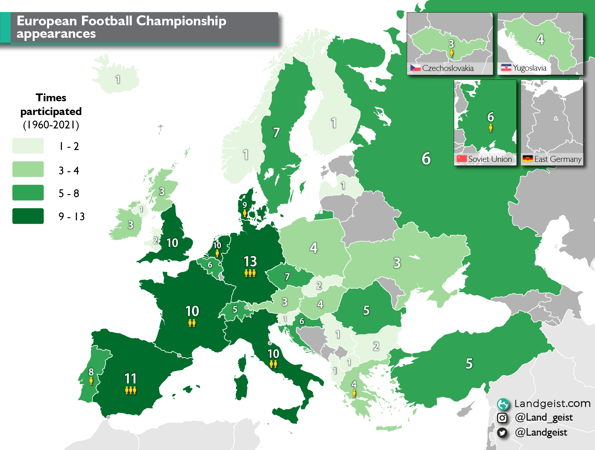 Map showing the number of appearances of each European country during the European Football Championship.