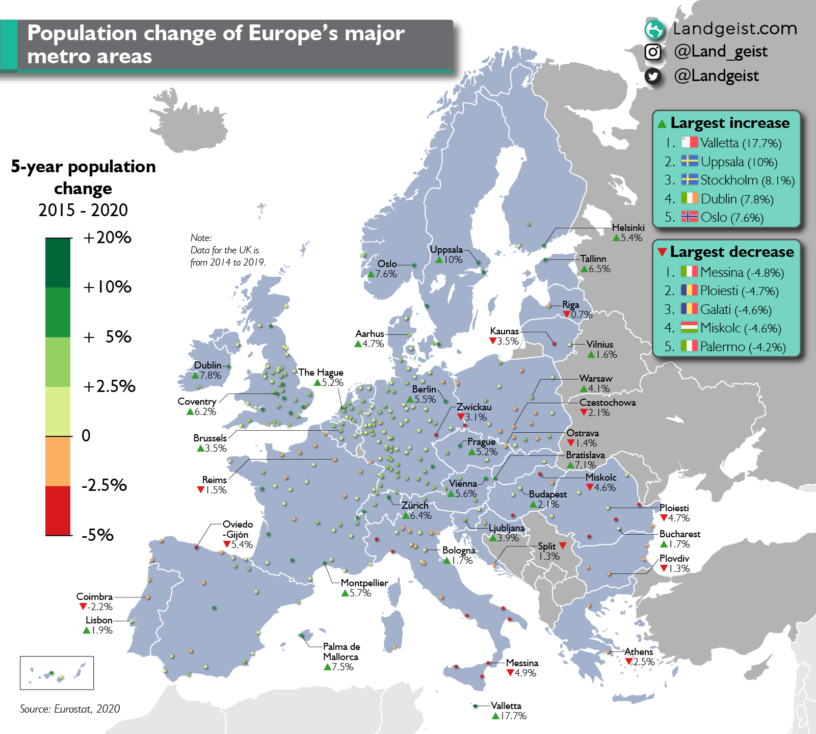 Map showing the 5 year growth of European metropolitan areas.