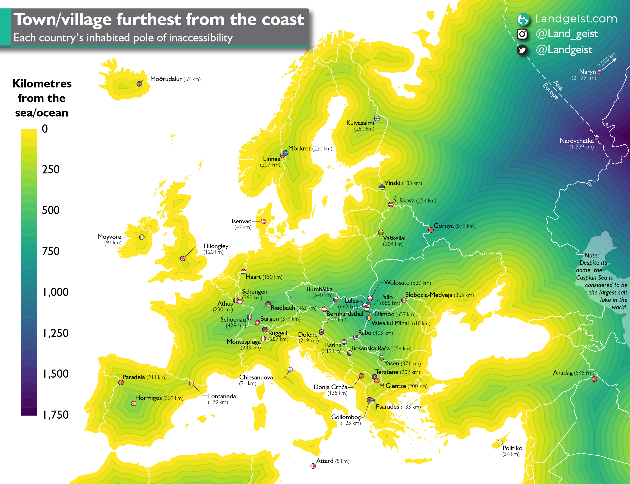 Map showing the town or village in each European country that is the furthest from the coast.