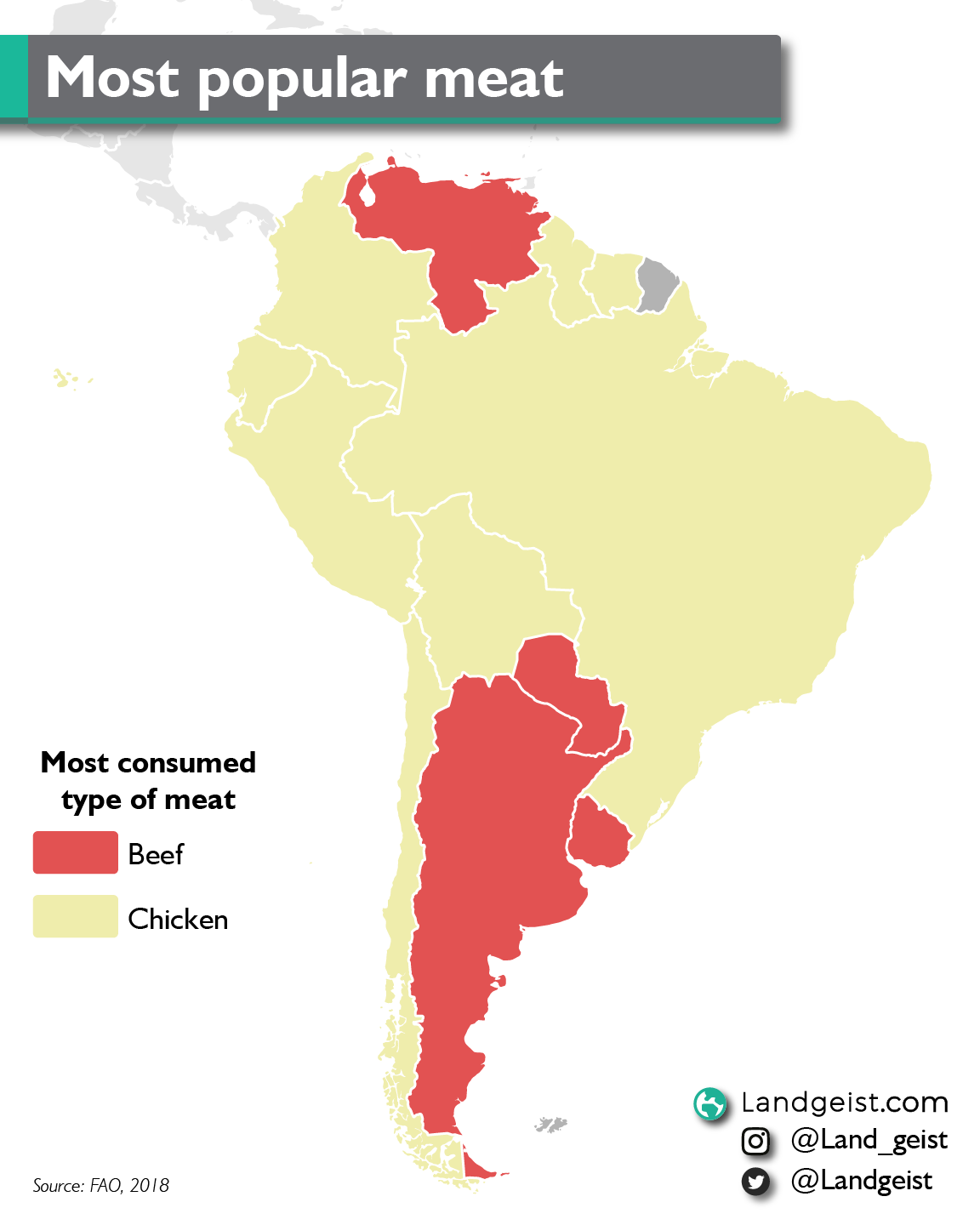 Map showing the most popular type of meat in South America.