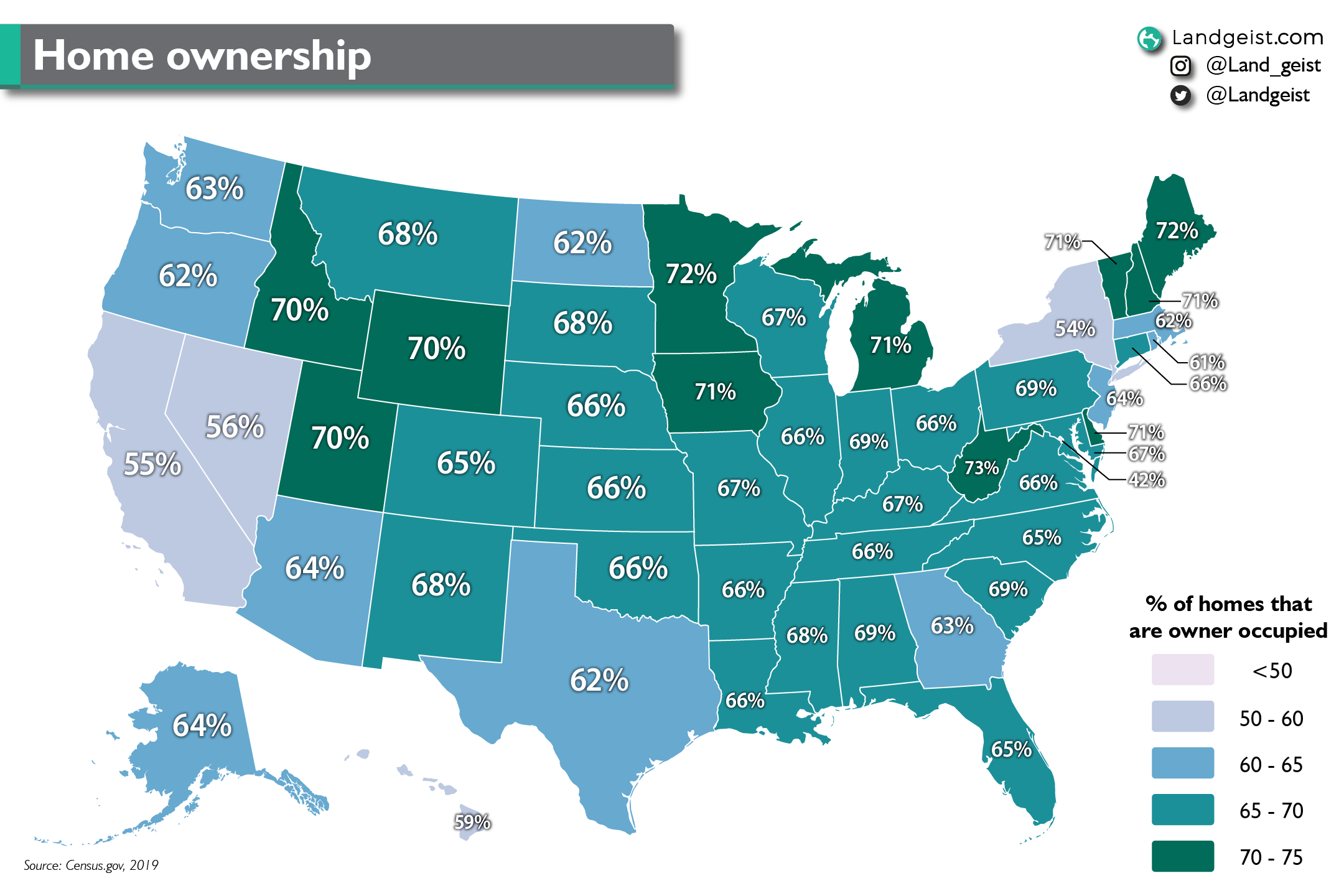 Map showing the rate of home ownership in the United States.