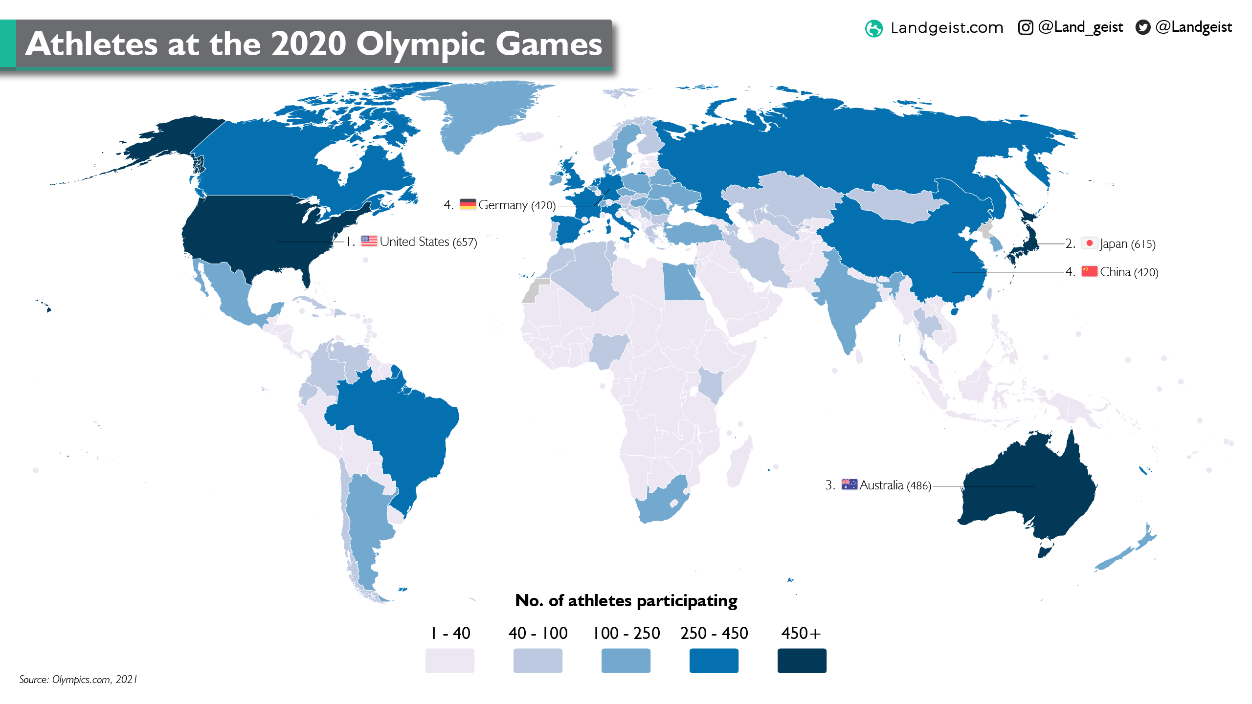 Map of the participants per country at 2020 Tokyo Olympic Games