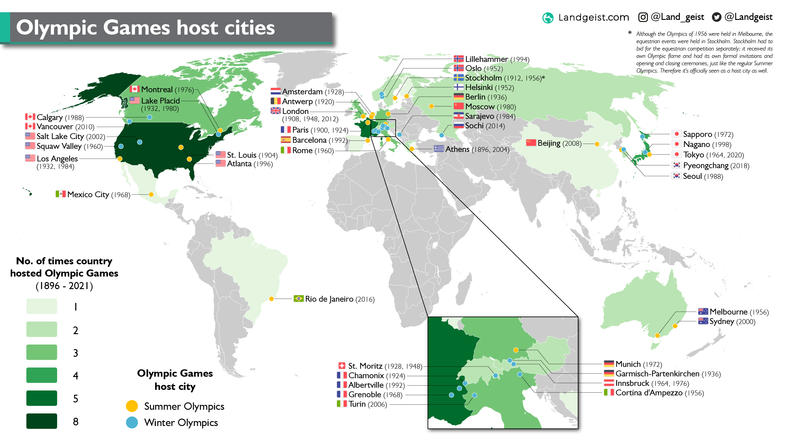 World map of the host cities for the Olympic Games.