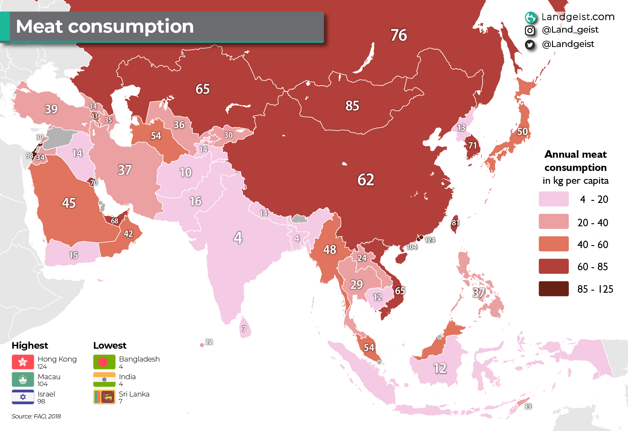 Map of the meat consumption in Asia.