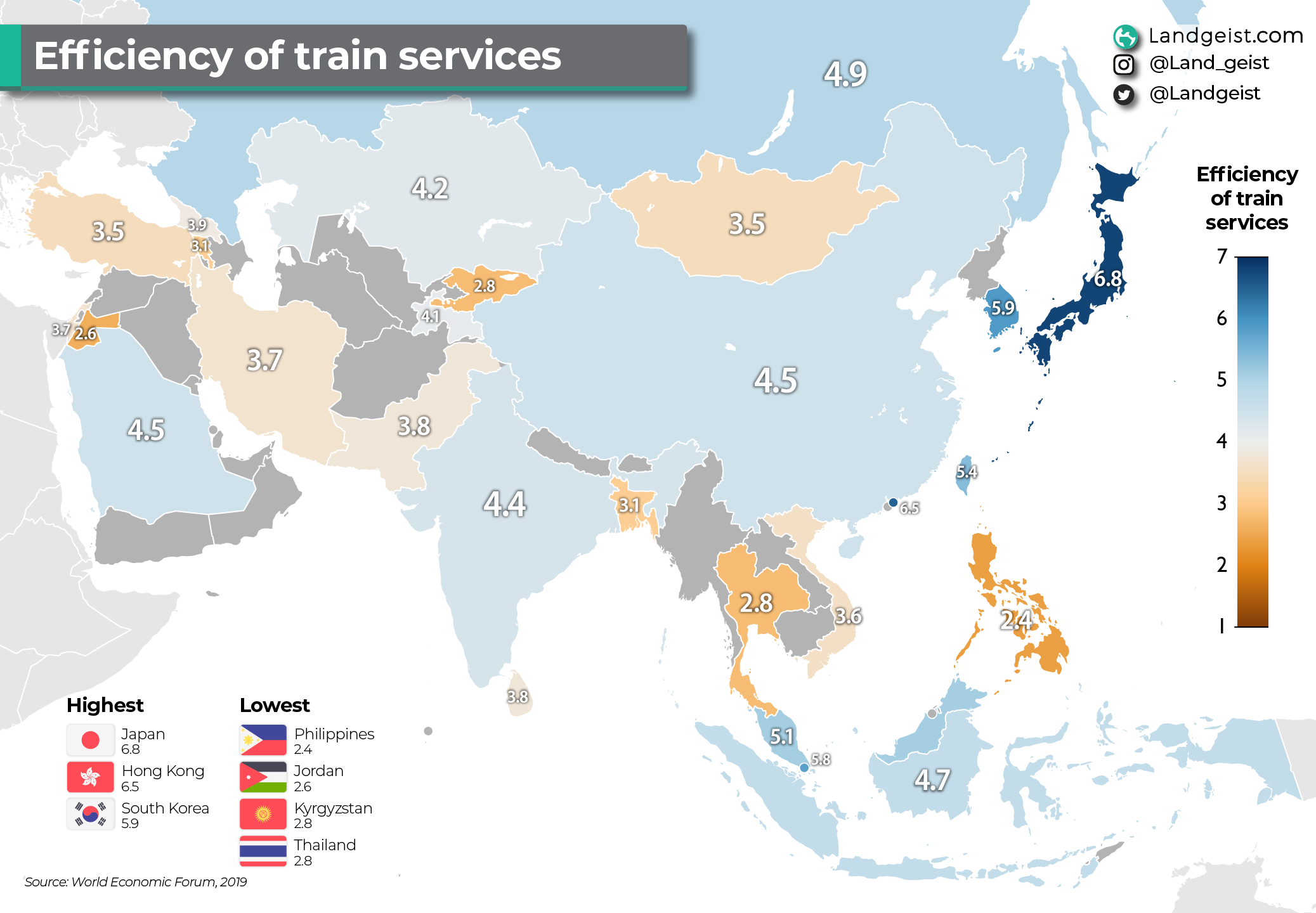 Map of the efficiency of train services in Asia.