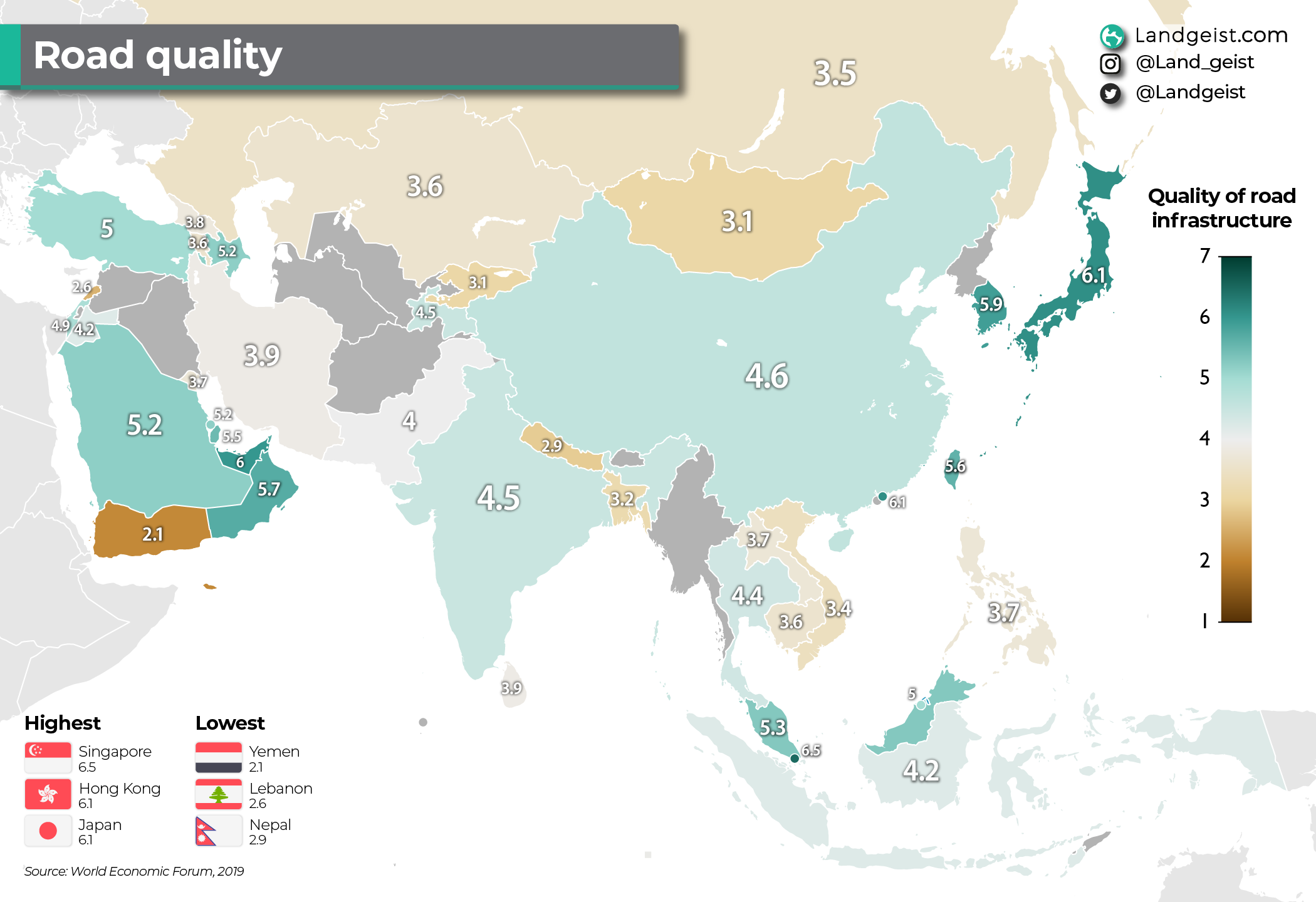 Map of the road quality in Asia