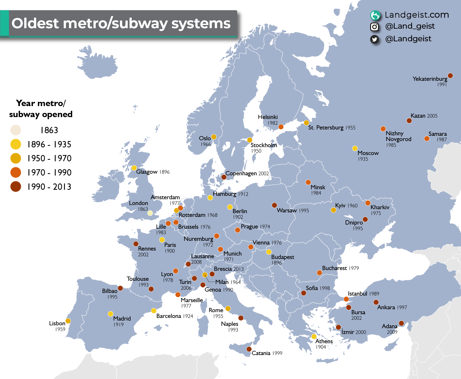 Map of the metro/ subway systems in Europe.