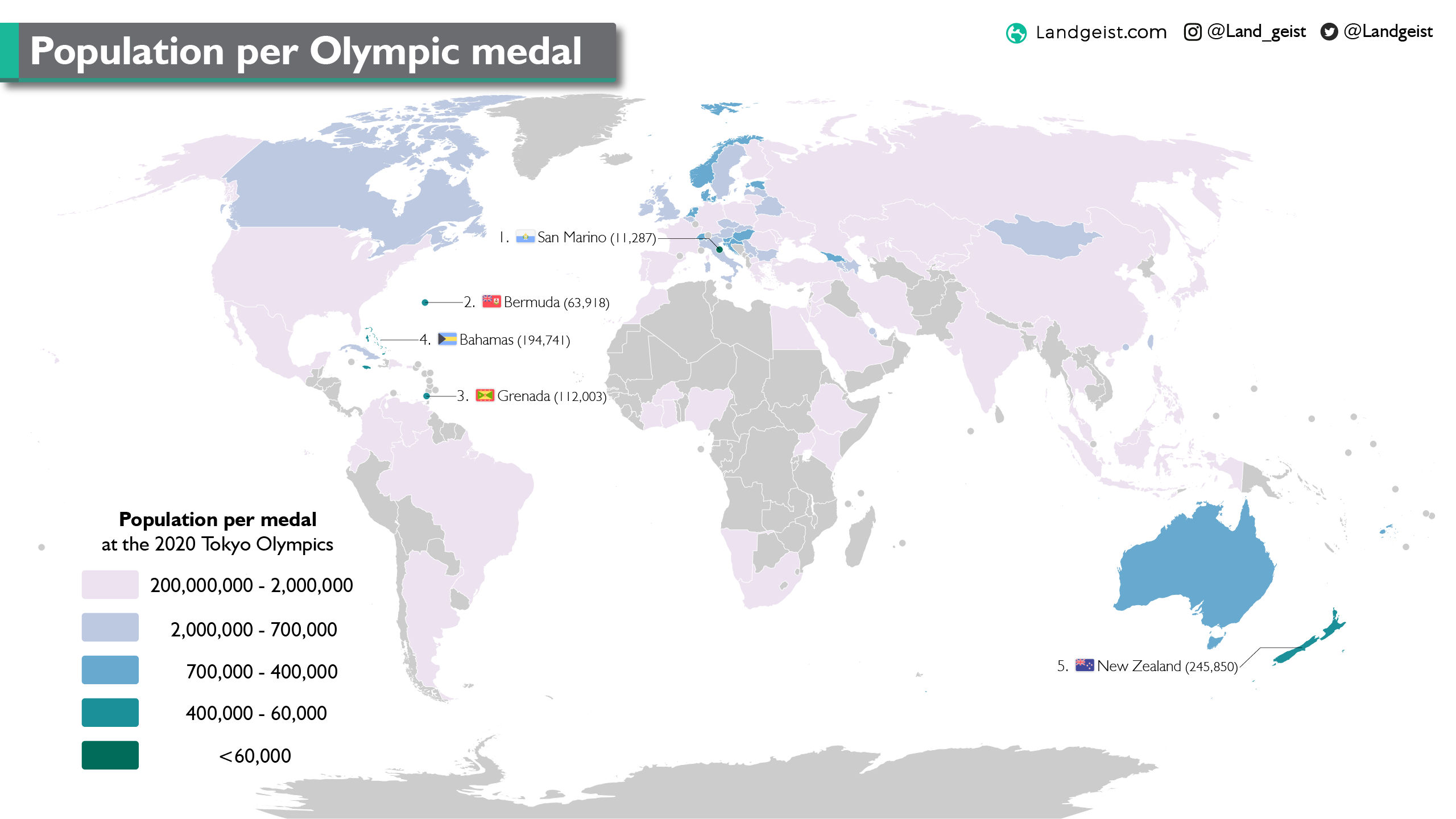 Map of the population per medal per country at 2020 Tokyo Olympic Games