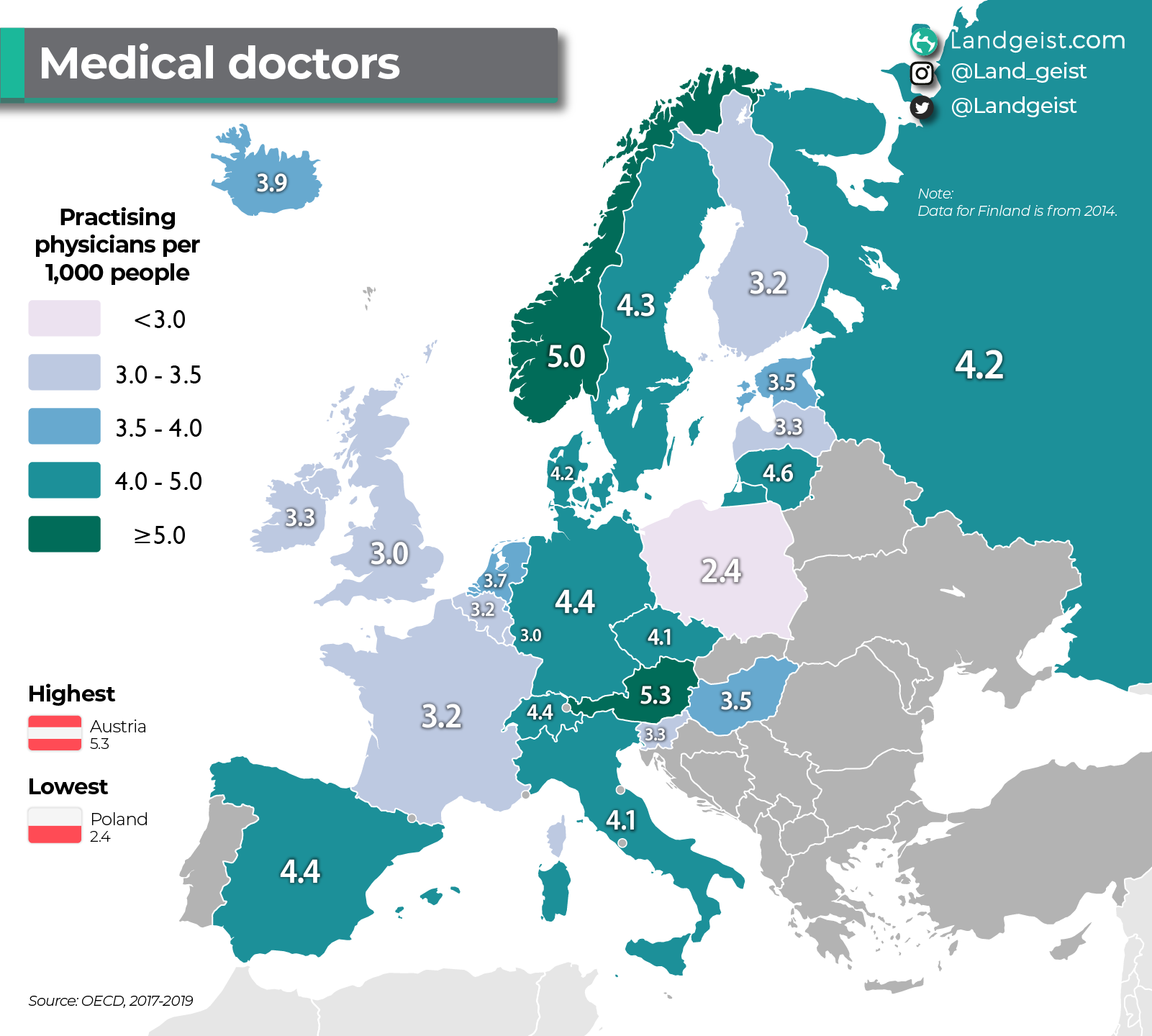 Map showing how many doctors there are in Europe per population.
