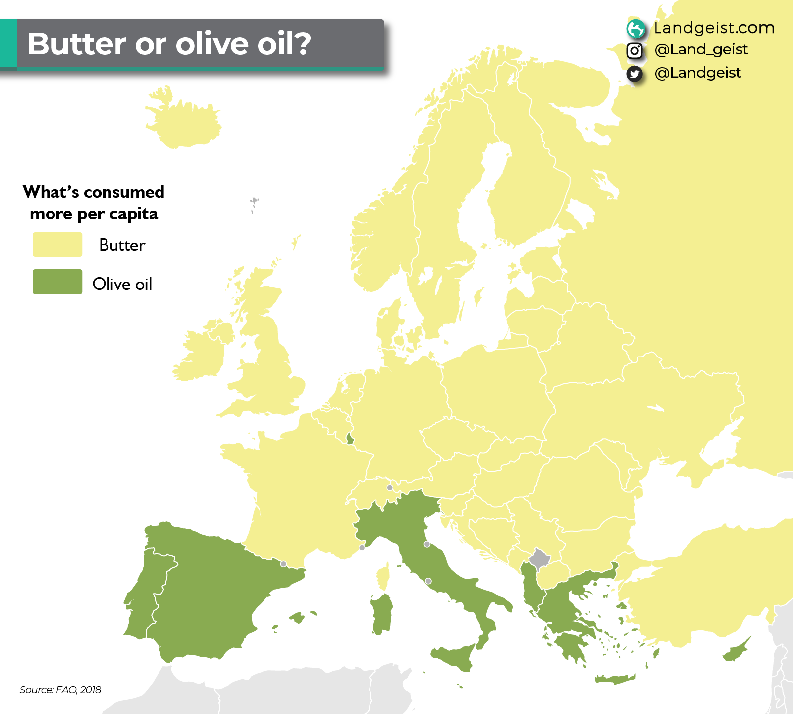 Map Europe showing where butter and where olive oil is consumed more.